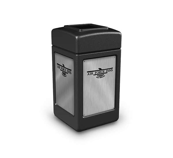 Air Force Inns Custom Branded Trash Receptacle | Commercial Zone