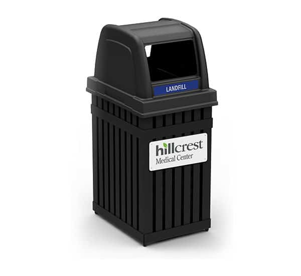 Hillcrest Medical Center Custom Branded Trash Can | Commercial Zone