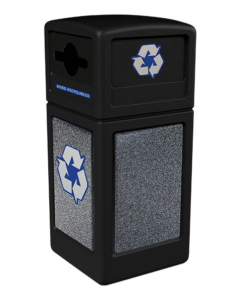 Product Image for black Ploytec recycling container with pepperstone stone panels and a slot with circle opening