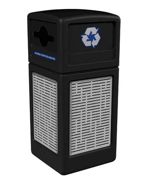 Product Image for black Ploytec recycling container with horizontal line stainless steel panels and a slot with circle opening